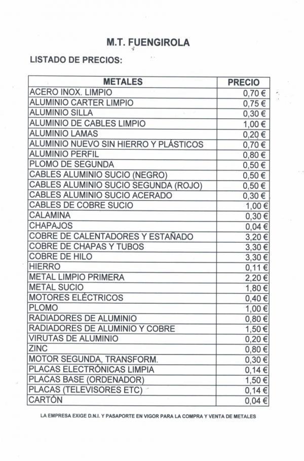 Lista De Precios Chatarra Hibe